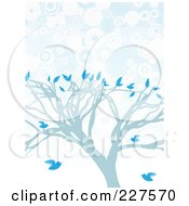 Royalty Free RF Clipart Illustration Of A Blue Tree With Blue Birds Over Blue And White Circles by mheld