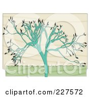 Royalty Free RF Clipart Illustration Of A Turquoise Tree With Gray Leaves Over Beige by mheld
