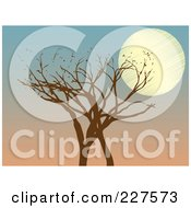 Royalty Free RF Clipart Illustration Of A Brown Tree With A Full Moon Against A Dusk Sky by mheld