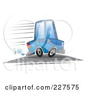 Royalty Free RF Clipart Illustration Of A Blue Cartoon Car Speeding