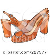 Royalty Free RF Clipart Illustration Of A Pair Of Retro Styled Orange High Heels
