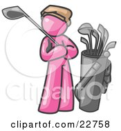 Pink Man Standing By His Golf Clubs