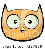 Royalty Free RF Clipart Illustration Of An Orange Owl Face With Big Eyes