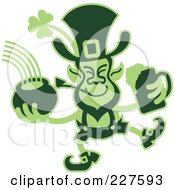 Royalty Free RF Clipart Illustration Of A Green Two Toned Leprecaun Holding A Beer And Pot Of Gold