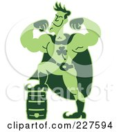 Royalty Free RF Clipart Illustration Of A Super Hero Man Powered By Beer His Foot Up On A Keg