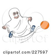 Royalty Free RF Clipart Illustration Of A Boy In A Sheet Ghost Halloween Costume Kicking A Ball by LaffToon