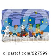 Royalty Free RF Clipart Illustration Of A Line Of Trick Or Treaters Carrying Halloween Candy Bags On A Sidewalk