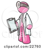 Clipart Illustration Of A Pink Male Doctor Holding A Clipboard And Wearing A Head Lamp