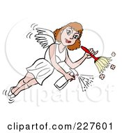 Royalty Free RF Clipart Illustration Of A Housekeeper Fairy Flying Spraying And Using A Duster