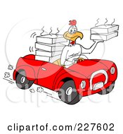 Royalty Free RF Clipart Illustration Of A Rooster Chicken Driving A Convertible Car And Delivering Food by LaffToon