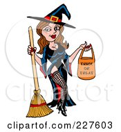 Royalty Free RF Clipart Illustration Of A Sexy Halloween Witch Holding A Trick Or Treat Bag