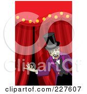 Creepy Ringmaster Presenting In Front Of Curtains