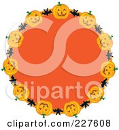 Royalty Free RF Clipart Illustration Of A Festive Orange Wreath With Halloween Pumpkins