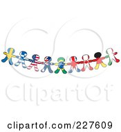 Royalty Free RF Clipart Illustration Of A Border Of International Flag Paper Doll Flags by Maria Bell