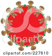 Royalty Free RF Clipart Illustration Of A Festive Red Wreath With Christmas Gingerbread Men by Maria Bell