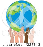 Diverse Hands Holding Up A Peace Earth