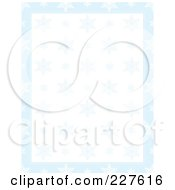 Background Of Blue Snowflakes Over White With A Border Of Blue