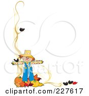 Royalty Free RF Clipart Illustration Of A Festive Autumn Border Of A Scarecrow With Leaves And Pumpkins