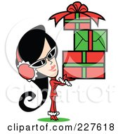Retro Woman Wearing A Santa Suit And Carrying A Pile Of Christmas Gifts