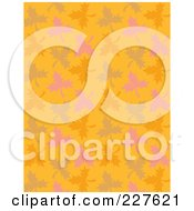 Background Pattern Of Autumn Leaves On Orange