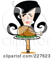 Royalty Free RF Clipart Illustration Of A Retro Woman Smelling And Carrying A Roasted Thanksgiving Turkey by Andy Nortnik