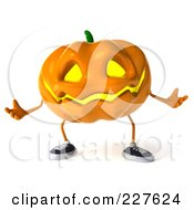 Royalty Free RF Clipart Illustration Of A 3d Jackolantern Shrugging by Julos
