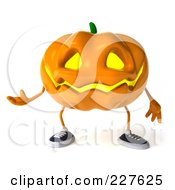 Royalty Free RF Clipart Illustration Of A 3d Jackolantern Gesturing 1 by Julos