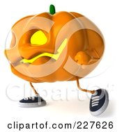 Royalty Free RF Clipart Illustration Of A 3d Jackolantern Walking Left by Julos