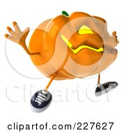 Royalty Free RF Clipart Illustration Of A 3d Jackolantern Jumping 2 by Julos