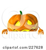 Royalty Free RF Clipart Illustration Of A 3d Jackolantern Holding A Blank Sign 1 by Julos