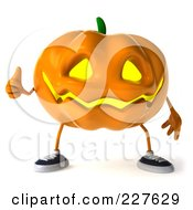 Royalty Free RF Clipart Illustration Of A 3d Jackolantern Giving The Thumbs Up 1 by Julos