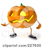 Royalty Free RF Clipart Illustration Of A 3d Jackolantern Gesturing 2 by Julos