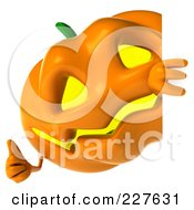 Royalty Free RF Clipart Illustration Of A 3d Jackolantern Holding A Blank Sign 3 by Julos