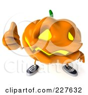 Royalty Free RF Clipart Illustration Of A 3d Jackolantern Giving The Thumbs Up 2 by Julos