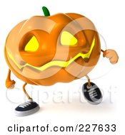 Royalty Free RF Clipart Illustration Of A 3d Jackolantern Walking Forward by Julos