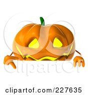 Royalty Free RF Clipart Illustration Of A 3d Jackolantern Holding A Blank Sign 2 by Julos