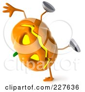 Royalty Free RF Clipart Illustration Of A 3d Jackolantern Doing A Hand Stand by Julos