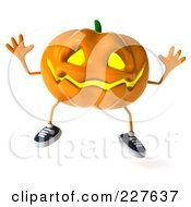 Royalty Free RF Clipart Illustration Of A 3d Jackolantern Jumping 1 by Julos