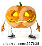 Royalty Free RF Clipart Illustration Of A 3d Jackolantern Standing And Facing Front by Julos