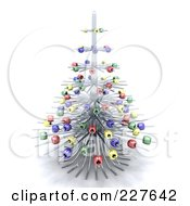 Royalty Free RF Clipart Illustration Of A 3d Wire Christmas Tree With Colorful Ornaments