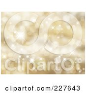 Royalty Free RF Clipart Illustration Of A Background Of Golden Glittery Lights And Halftone Texture