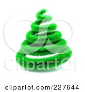 Royalty Free RF Clipart Illustration Of A 3d Green Furry Garland Christmas Tree