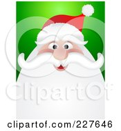 Royalty Free RF Clipart Illustration Of A Happy Santa Face Smiling Over Green