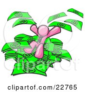 Clipart Illustration Of A Pink Business Man Jumping In A Pile Of Money And Throwing Cash Into The Air by Leo Blanchette