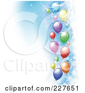Royalty Free RF Clipart Illustration Of A Background Of Colorful Balloons With Snowflakes On Blue And White