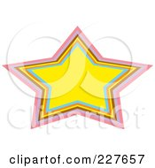 Royalty Free RF Clipart Illustration Of A Yellow Urban Star Frame With Colorful Trim by Andy Nortnik