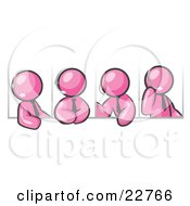 Clipart Illustration Of Four Different Pink Men Wearing Headsets And Having A Discussion During A Phone Meeting