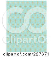 Blue Retro Pattern Background Of Orange And White Stars by Andy Nortnik