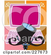 Royalty Free RF Clipart Illustration Of A Retro Woman Typing On A Large Computer by Andy Nortnik