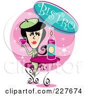 Retro Woman Drinking Wine In A Bistro